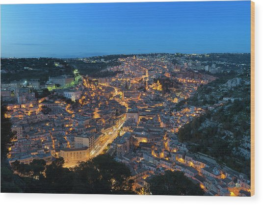 Wood Print featuring the photograph Modica, Sicily by Mirko Chessari