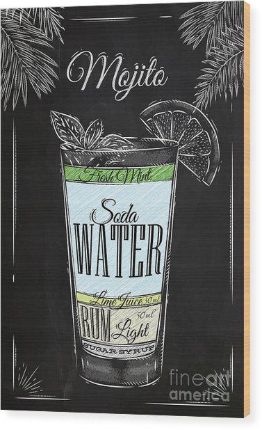 Mojito Cocktail In Vintage Style Wood Print