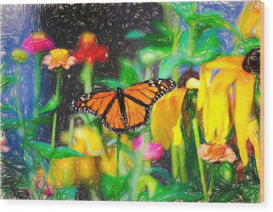 Monarch Butterfly Colored Pencil Wood Print