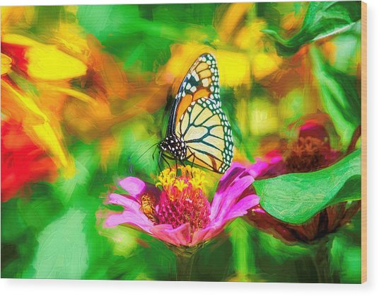 Monarch Butterfly Impasto Colorful Wood Print