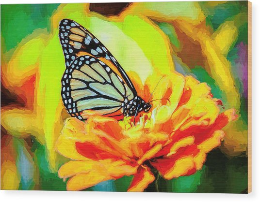 Monarch Butterfly Van Gogh Style Wood Print