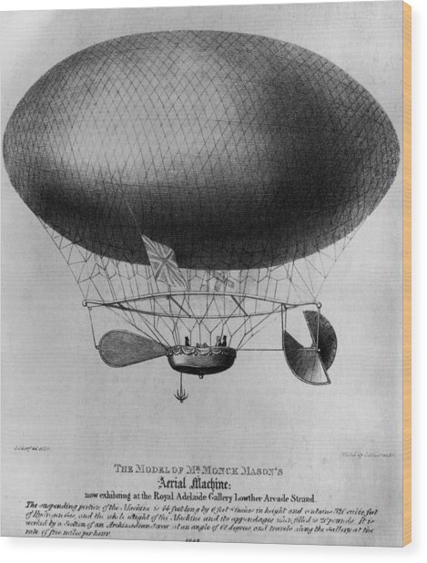 Monck Masons Airship Wood Print by Hulton Archive
