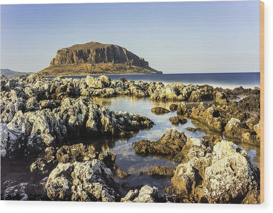 Monemvasia Rock Wood Print