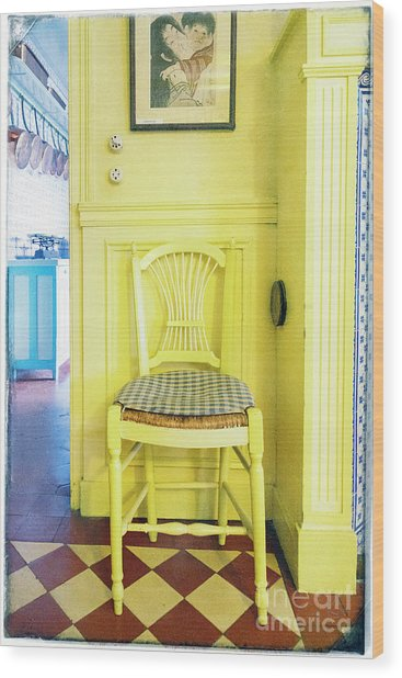 Monet's Kitchen Yellow Chair Wood Print