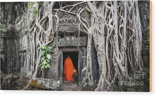 Monk In Angkor Wat Cambodia. Ta Prohm Wood Print by Banana Republic Images