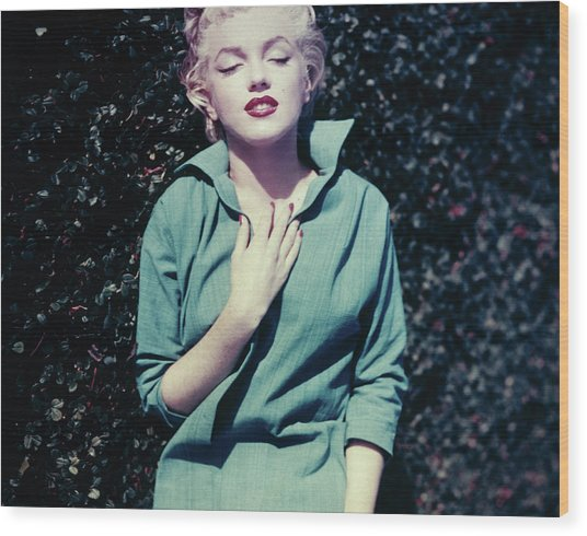 Monroe In Green Wood Print by Baron
