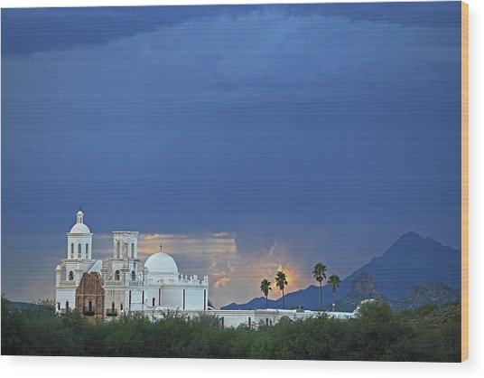 Monsoon Skies Over The Mission Wood Print