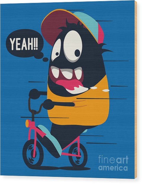 Monster On The Bicycle Wood Print
