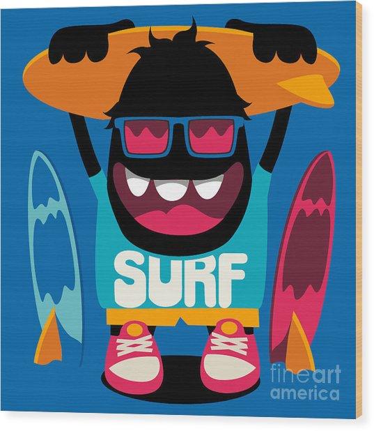 Monster Surfer Vector Character Design Wood Print