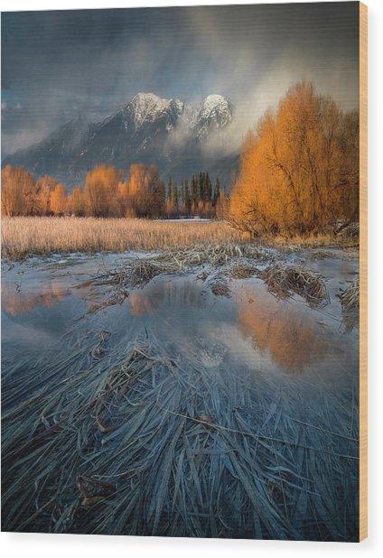 Montana Spring Storm / Bigfork, Montana Wood Print