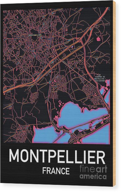 Montpellier City Map Wood Print