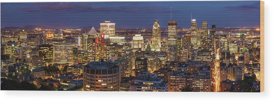 Wood Print featuring the photograph Montreal Panorama At Night by Pierre Leclerc Photography