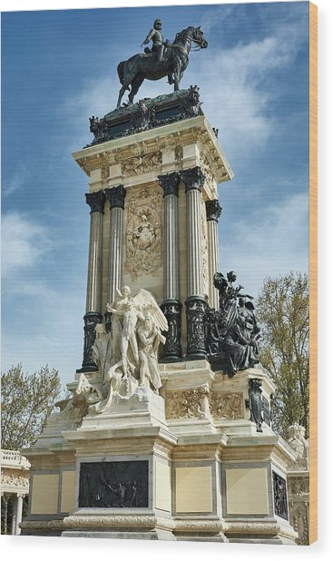 Monument To King Alfonso Xii At Retiro Park In Madrid, Spain Wood Print