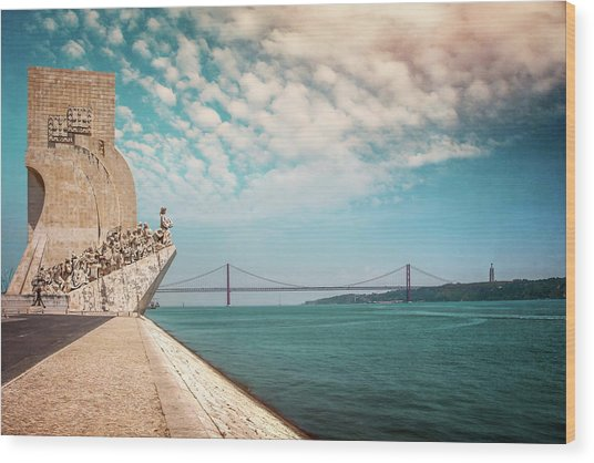 Monument To The Discoveries Lisbon Portugal Wood Print