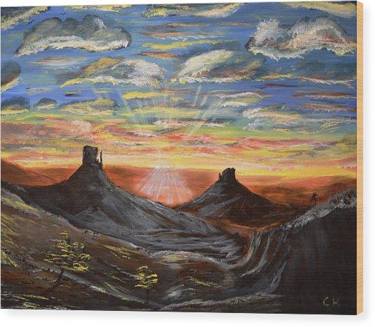 Monument Valley And Kokopelli Wood Print