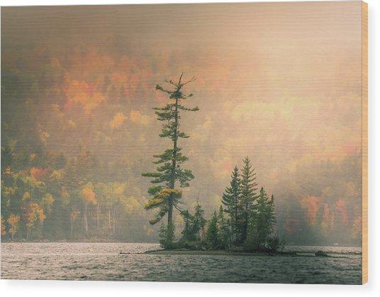 Moody Autumn Morning On Moosehead Lake Wood Print
