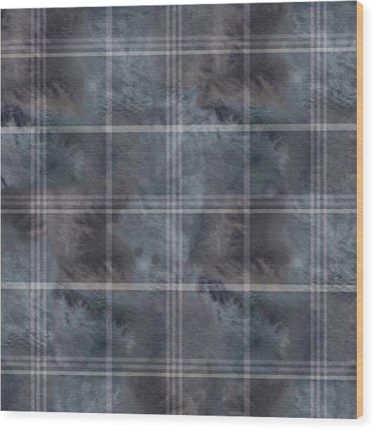 Moody Blue Plaid Wood Print