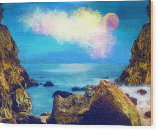Moon And Sea Wood Print