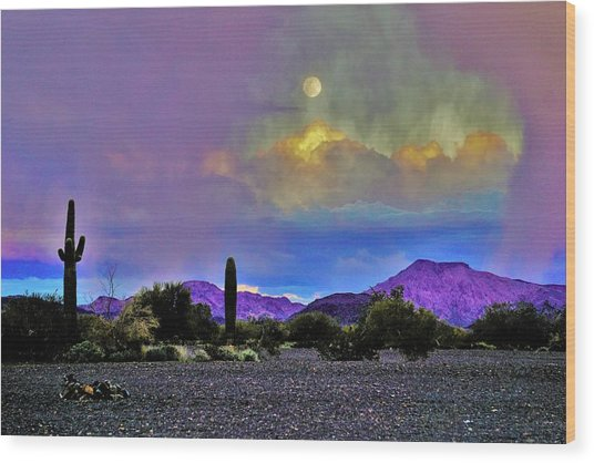 Moon At Sunset In The Desert Wood Print