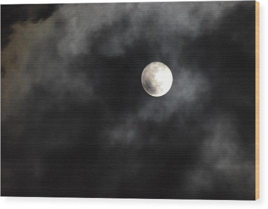 Moon In The Still Of The Night Wood Print