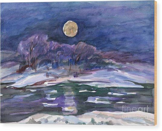Moon Landscape Wood Print