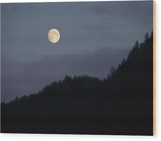 Moon Over Hill Wood Print