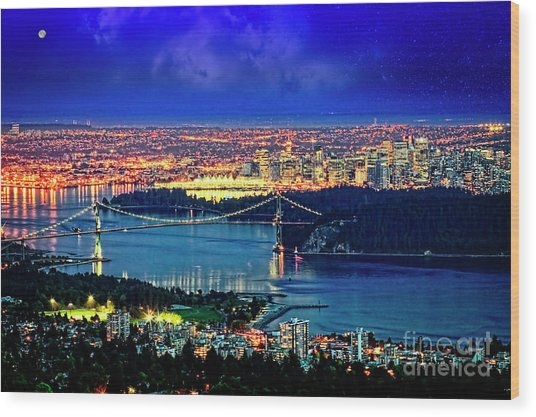 Wood Print featuring the photograph Moon Over Vancouver by Scott Kemper