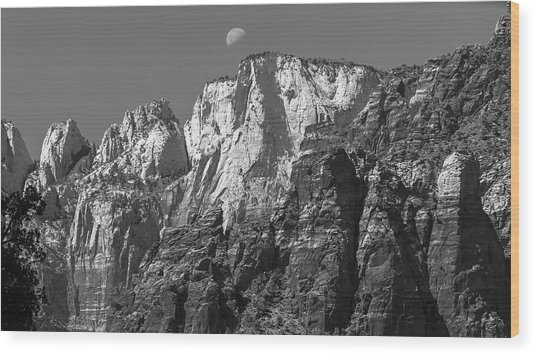 Moon Over Zion Wood Print by Joseph Smith
