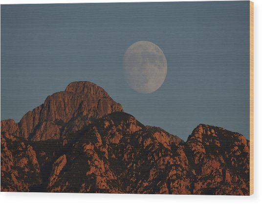 Moon Rise Over Mount Wrightson  Wood Print