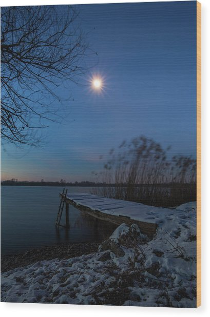 Moonlight Over The Lake Wood Print
