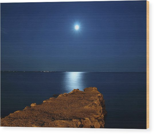 Moonshine Seascape And Old Jetty Wood Print