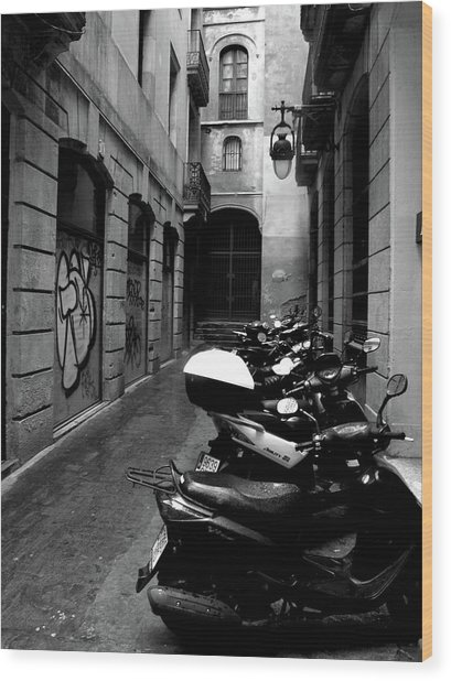 Wood Print featuring the photograph Moped by Edward Lee