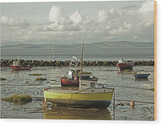 Morecambe. Boats On The Shore. Wood Print