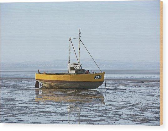 Morecambe. Yellow Fishing Boat. Wood Print