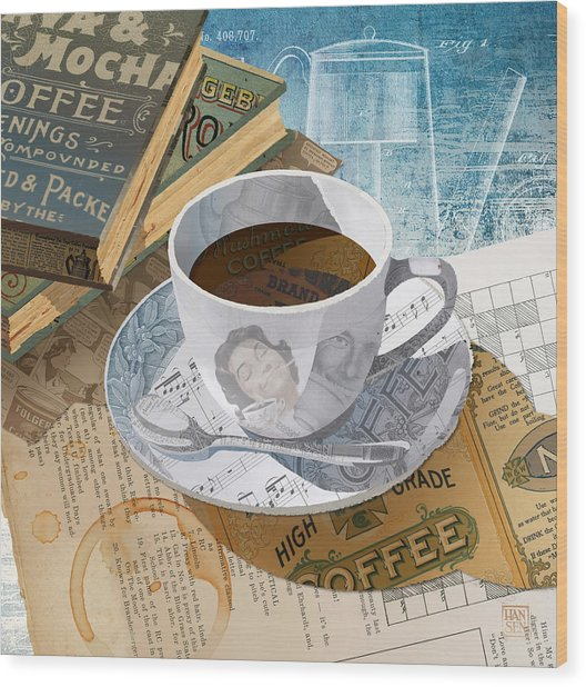 Wood Print featuring the mixed media Morning Coffee by Clint Hansen