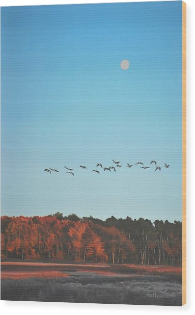 Morning Flight Wood Print