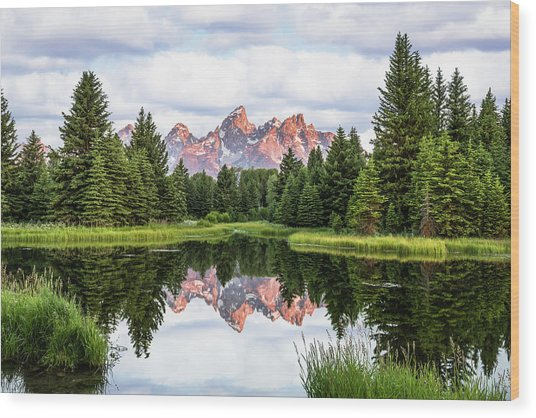Morning In The Tetons Wood Print
