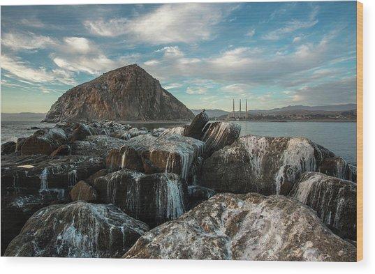 Morro Rock Breakwater Wood Print