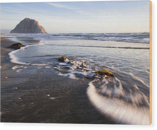 Morro Rock Ebb Tide Wood Print