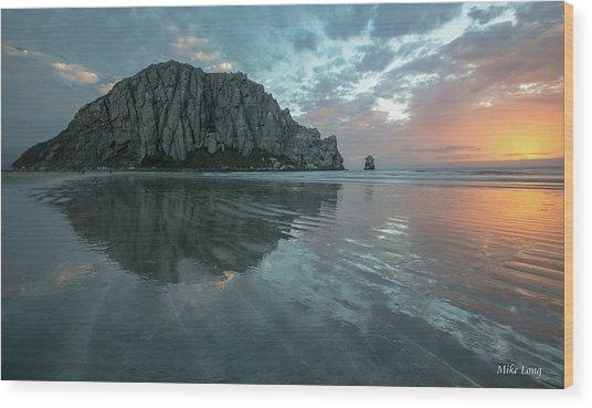 Morro Rock Sunset Wood Print