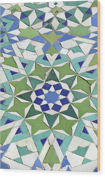 Mosaic Exterior Decorations Of The Hassan II Mosque Wood Print