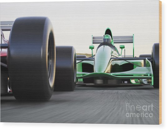 Motor Sports Race Car Competitive Close Wood Print