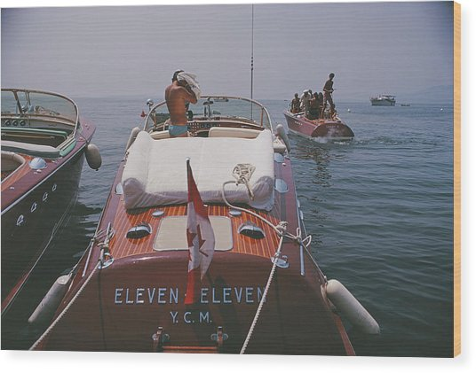 Motorboats In Antibes Wood Print