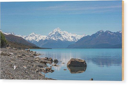 Mount Cook From Lake Pukaki Wood Print