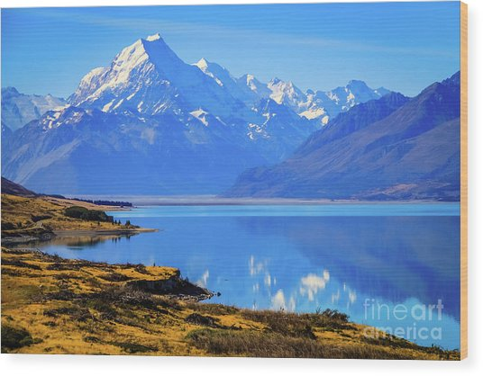 Mount Cook Overlooking Lake Pukaki,  New Zealand Wood Print