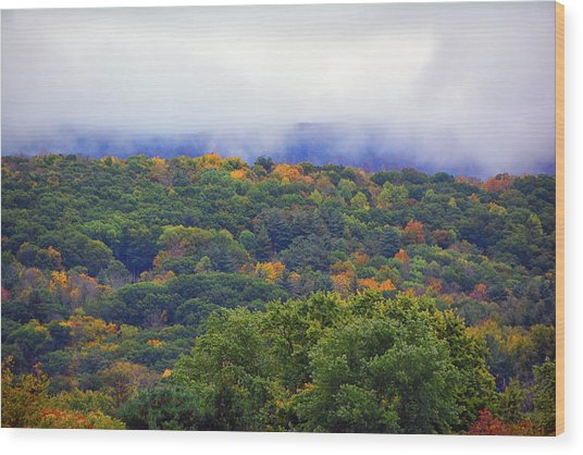 Wood Print featuring the photograph Mount Greylock In The Clouds by Raymond Salani III