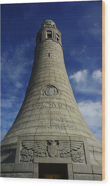 Wood Print featuring the photograph Mount Greylock Tower Up And Close 2 by Raymond Salani III