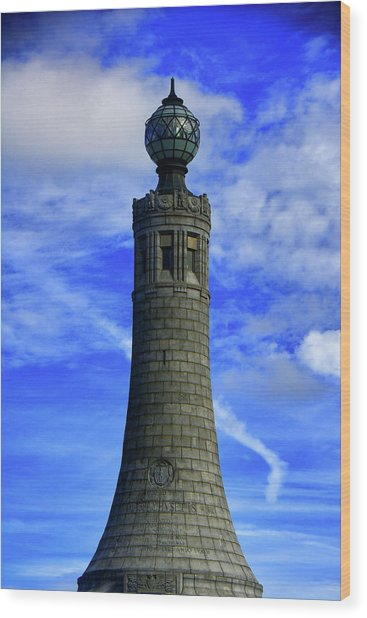 Wood Print featuring the photograph Mount Greylock Tower With Clouds by Raymond Salani III