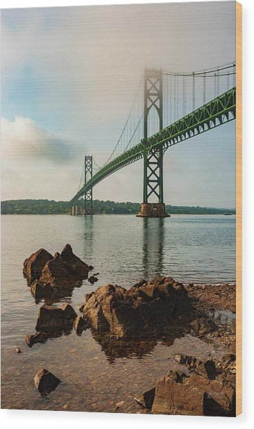 Wood Print featuring the photograph Mount Hope Bridge IIi Color by David Gordon