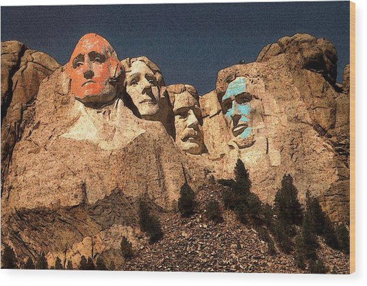 Mount Rushmore Red And Blue Drawing Wood Print